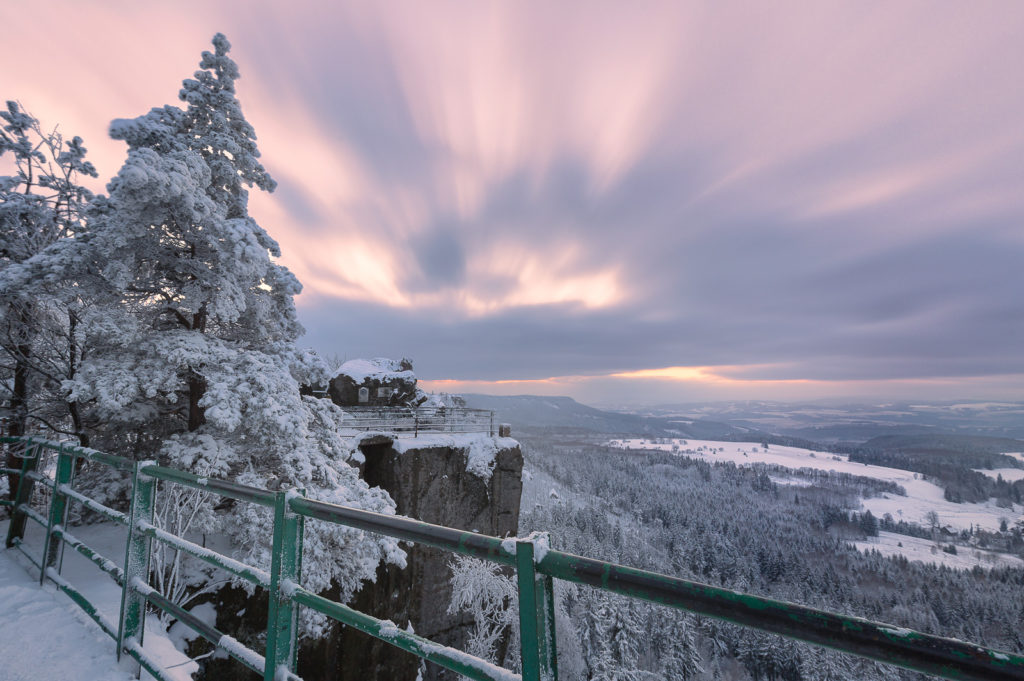 photograph of a sunset at Szczeliniec Wielki, Table Mountains, PL