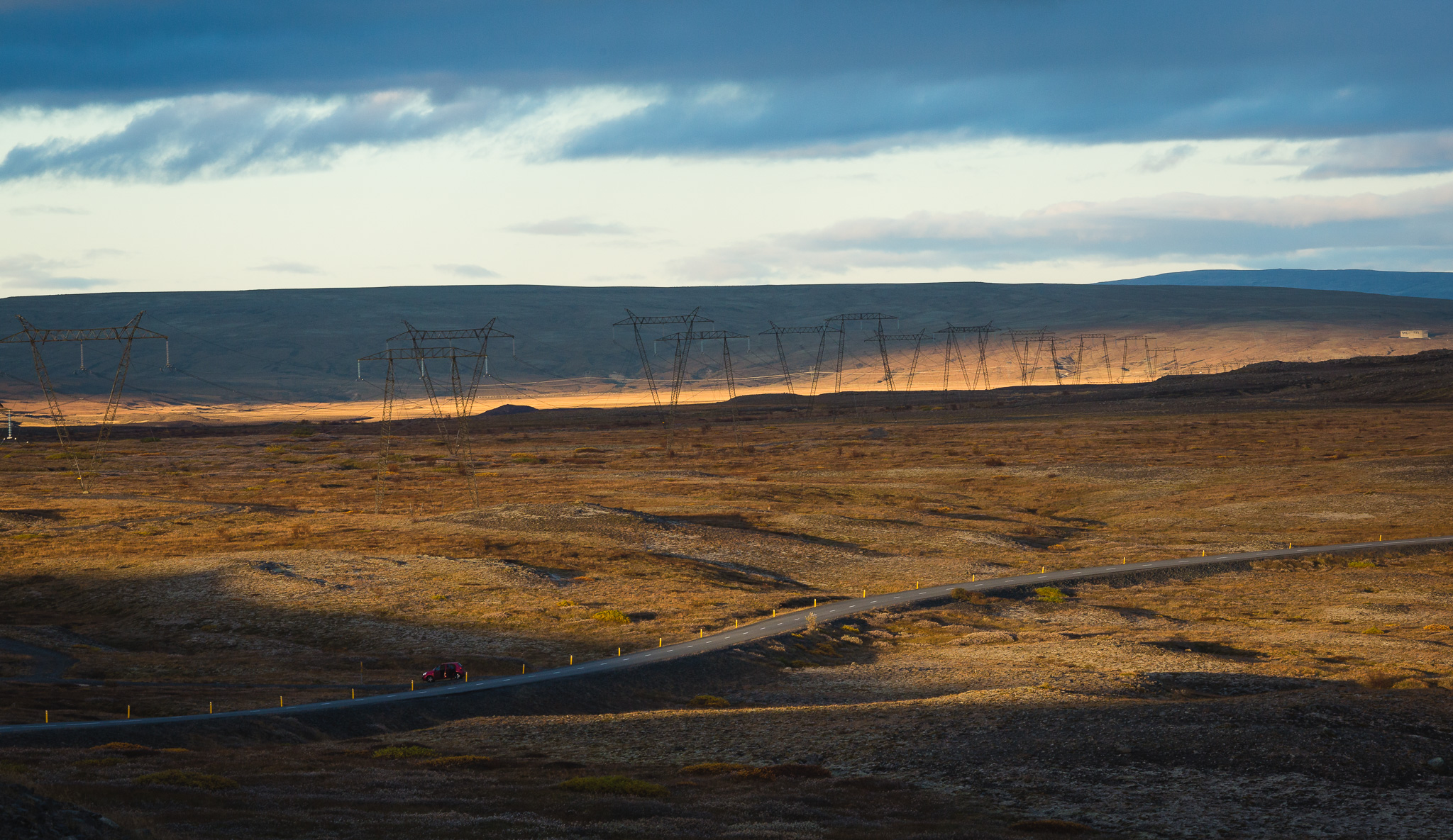 Roads and electric poles in Iceland picture
