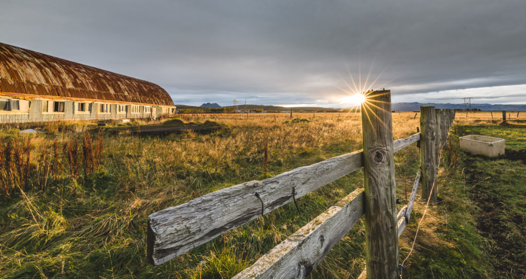 Sunrise over abandoned Icelandic dairy picture
